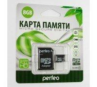 PERFEO 8 GB micro SDHC 10 класс с адаптером