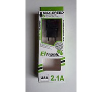 ELTRONIK З/У СЕТЕВОЕ ДЛЯ iPhone 5-8 ВЫХОД 2.1А чёрное в коробке